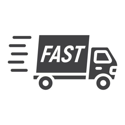 Fast shipping glyph icon, logistic and delivery truck, carton box sign vector graphics, a solid pattern on a white background, eps 10.
